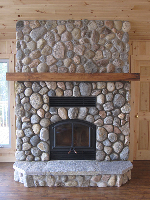 Opel Wood Burning Fireplace With River Stone Efficient