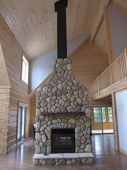 Rsf Oracle Double Sided Wood Burning Fireplace With Cultured Stone Efficient Wood Gas