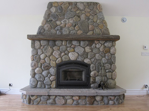Bis Tradition Ce Wood Burning Fireplace With River Stone