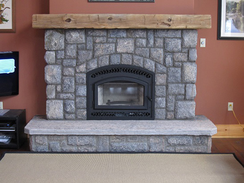 Bis Tradition CE wood burning fireplace with square cut granite ...